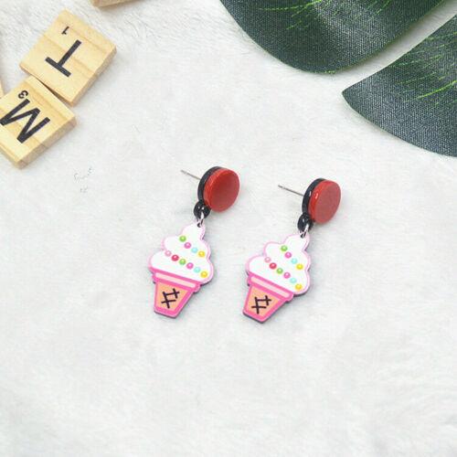 Doughnut Hamburg Watermelon Drop Earrings Women Fashion Ear Jewelry Food Fruit