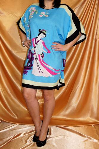 Sleep Shirt aus Baumwolle Einheitsgröße Übergröße Geisha Motiv Nacht Blau-Gelb