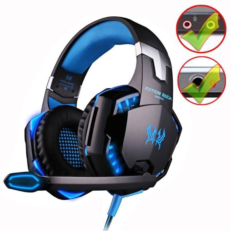 e68120cdca3 KOTION EACH G9000 3.5mm Gaming Headphone Game Headset Noise Cancellation  Earphone with Mic LED Light