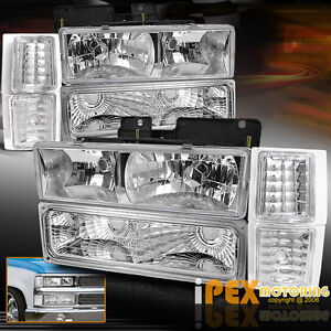 1994 1998 chevy silverado tahoe c1500 c2500 k1500 chrome headlights signal light ebay. Black Bedroom Furniture Sets. Home Design Ideas