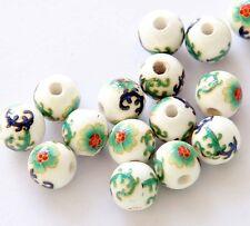 7Pcs Hand Painted Flower Ceramics Porcelian Beads Finding