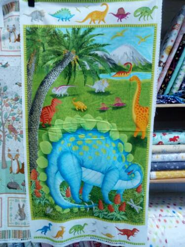 Blanks Dino Party panel free p/&p 24 by 44 inch boys  100/% cotton Jurassic