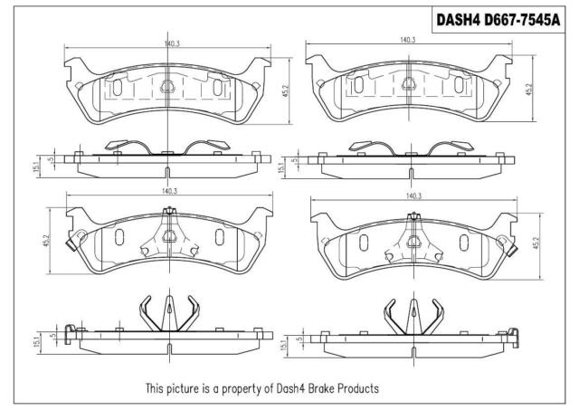 Semi-Metallic Dash 4 MD667 Premium Brake Pad