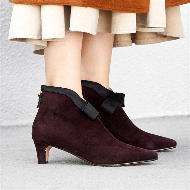 Sensual Mujer Tacones Gatito Gamuza Tobillo botas Zapatos Informales Puntera Puntiaguda Elegante Botines
