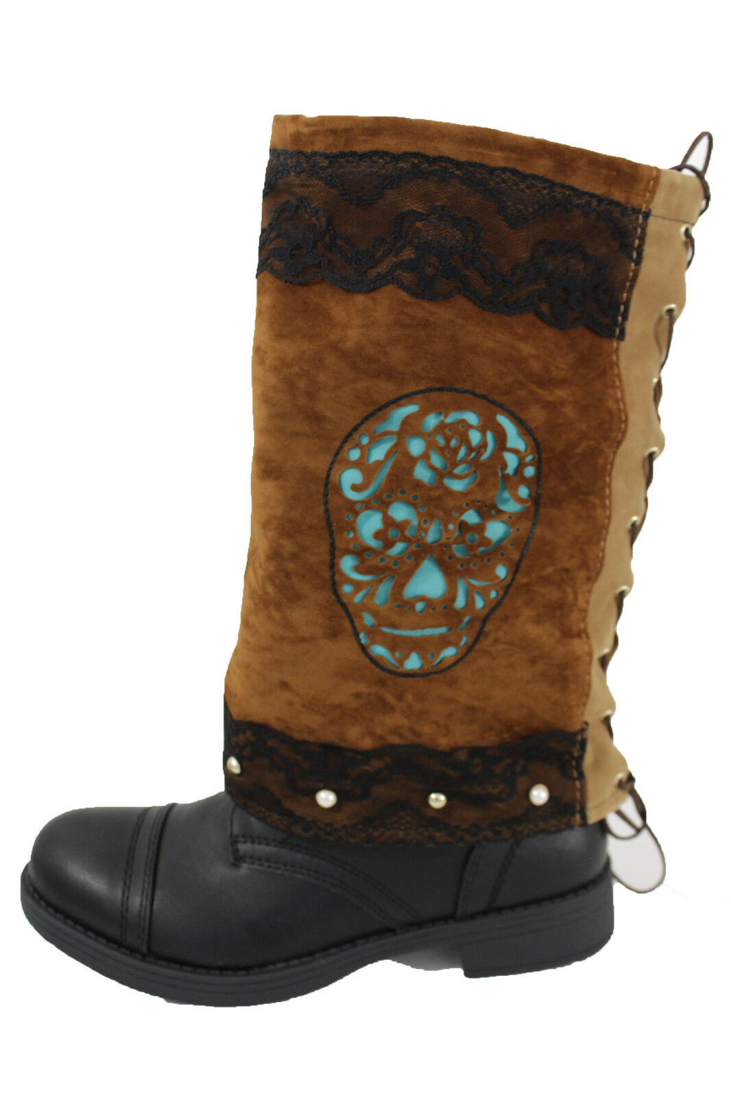 Women Boot Cover Toppers Pair Brown Faux Leather Slip On Western Turquoise Skull