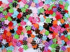 200 Assorted Padded Fabric Polka Dots Mini Satin Flower Applique/Daisy/Trim H373