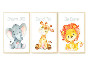 Image Is Loading Set Of 3 African Jungle Baby Animals Nursery