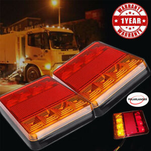 2x-8-luces-LED-Remolque-Alarma-luces-Traseras-Camion-Carvavn-Boat-Car-Square-12V