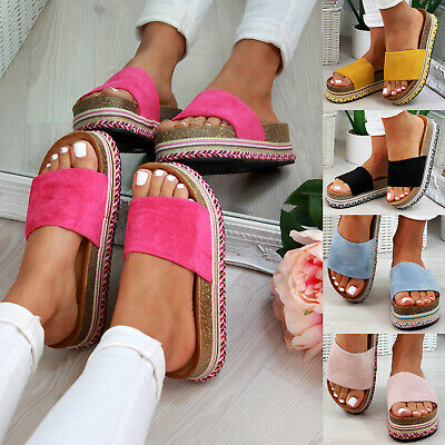 Diszipliniert New Womens Flatform Sliders Mule Summer Sandals Espadrille Slip On Shoes Sizes Eine GroßE Auswahl An Waren