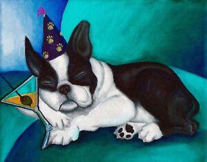 11X14 BOSTON TERRIER BLUE Dog Art PRINT Painting VERN