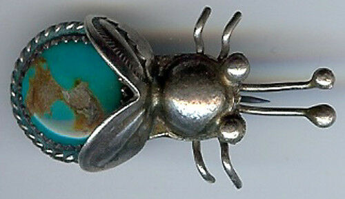 TERRIFIC VINTAGE NAVAJO INDIAN STERLING SILVER TURQUOISE BIG BUG PIN BROOCH