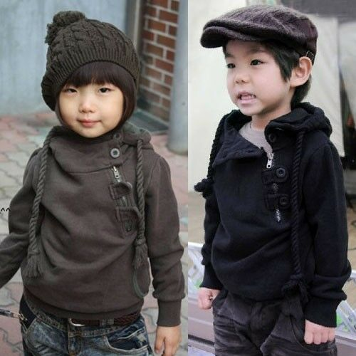 New Kids Toddlers Side Buttons Zipper Hoodie Jacket Coat Outerwear 3-8 Y S103