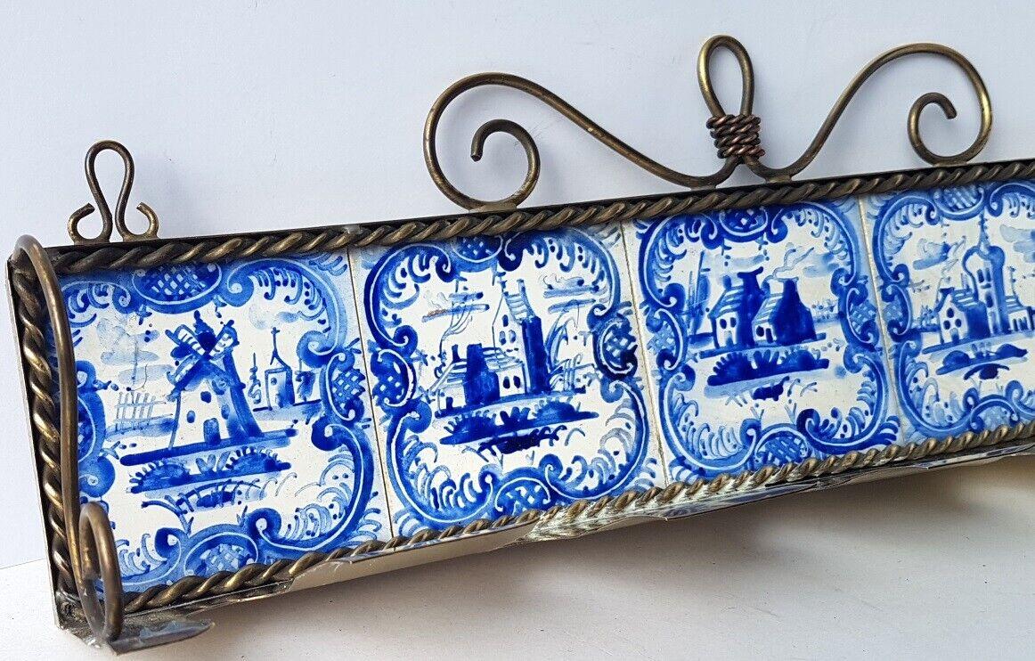 Löffel- Ständer, Messing, Messing, Messing, Keramik, im Delft Stil, handbemalt, um 1900 AL1332 | König der Quantität  06b8a1