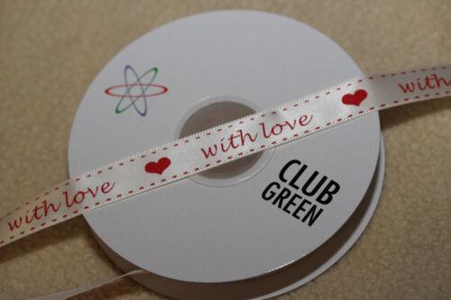 Club Green 15mm Marfil Y Rojo Con Amor /& Corazón-San Valentín Boda de cinta de raso
