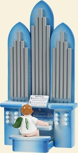 Ange musicien à orgue sans couronne spielwerk mélodie  silence nuit hauteur env. 6cm NEUF
