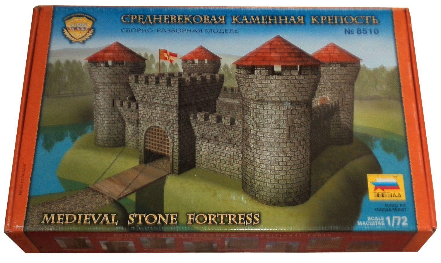 svesda 8510 - mittelalterlichen stein burg - ruhestand modularen modell aus kunststoff - mib