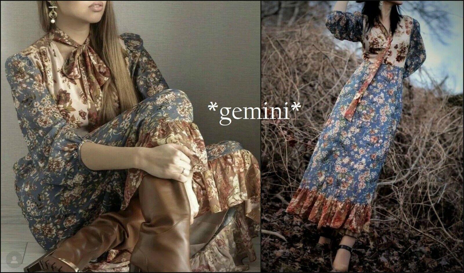 5fb0c91045ff Zara Boho Hippie Patchwork MAXI VESTITO FIORI FIOCCO FIOCCO FIOCCO Floral  Print Dress Bow dd2b06
