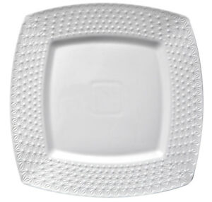 Assiette-Plate-Carre-En-Porcelaine-Blanc-26-cm-Motif-De-Relief