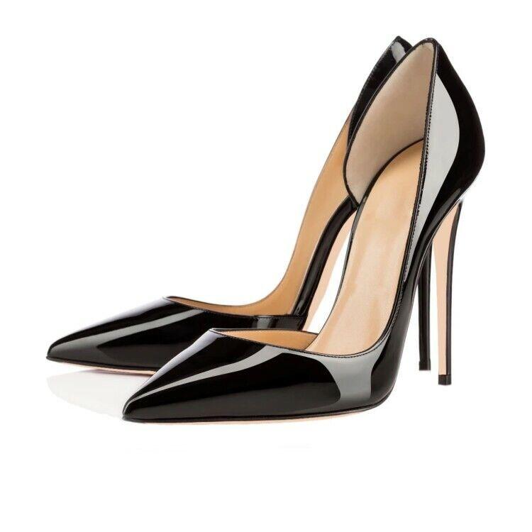 Schwarz Damen Lackleder Pumps Sehr hoher Absatz party Stilettos Heels 45 46 47