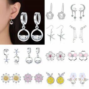 Chic-Silver-Flower-Crystal-Stud-Earrings-Dangle-Women-Girls-Charm-Jewellery-Gift