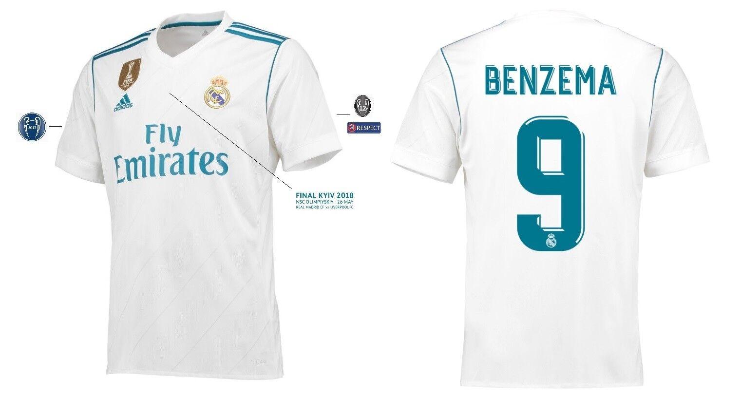 Trikot Real Madrid Home Champions League Finale Kyiv 2018 - Benzema 9   Kiev