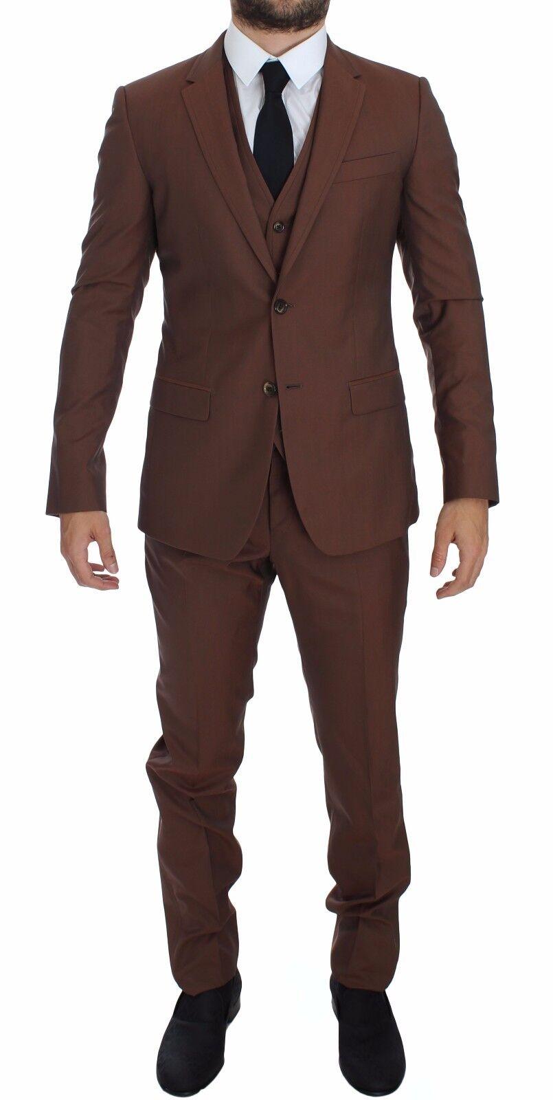NWT 2600 DOLCE & GABBANA Braun Silk Wool 3 Piece Slim Fit Suit EU46 /US36 /S