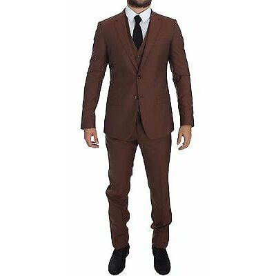 NWT $2600 DOLCE & GABBANA Brown Silk Wool 3 Piece Slim Fit Suit EU46 /US36 /S