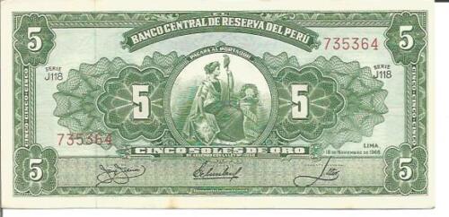 aUNC CONDITION PERU 5 SOLES DE ORO 1965