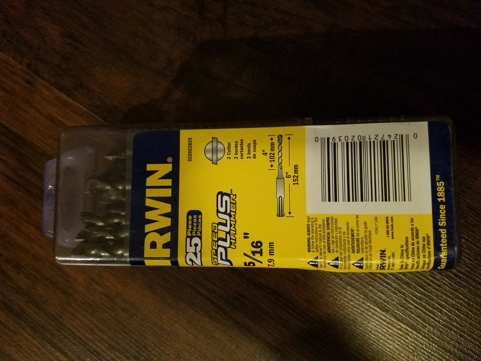 IRWIN SDS-PLUS Concrete 5/16 x 4 x 6  Speed Plus Hammer Drill Bit 25pcs.