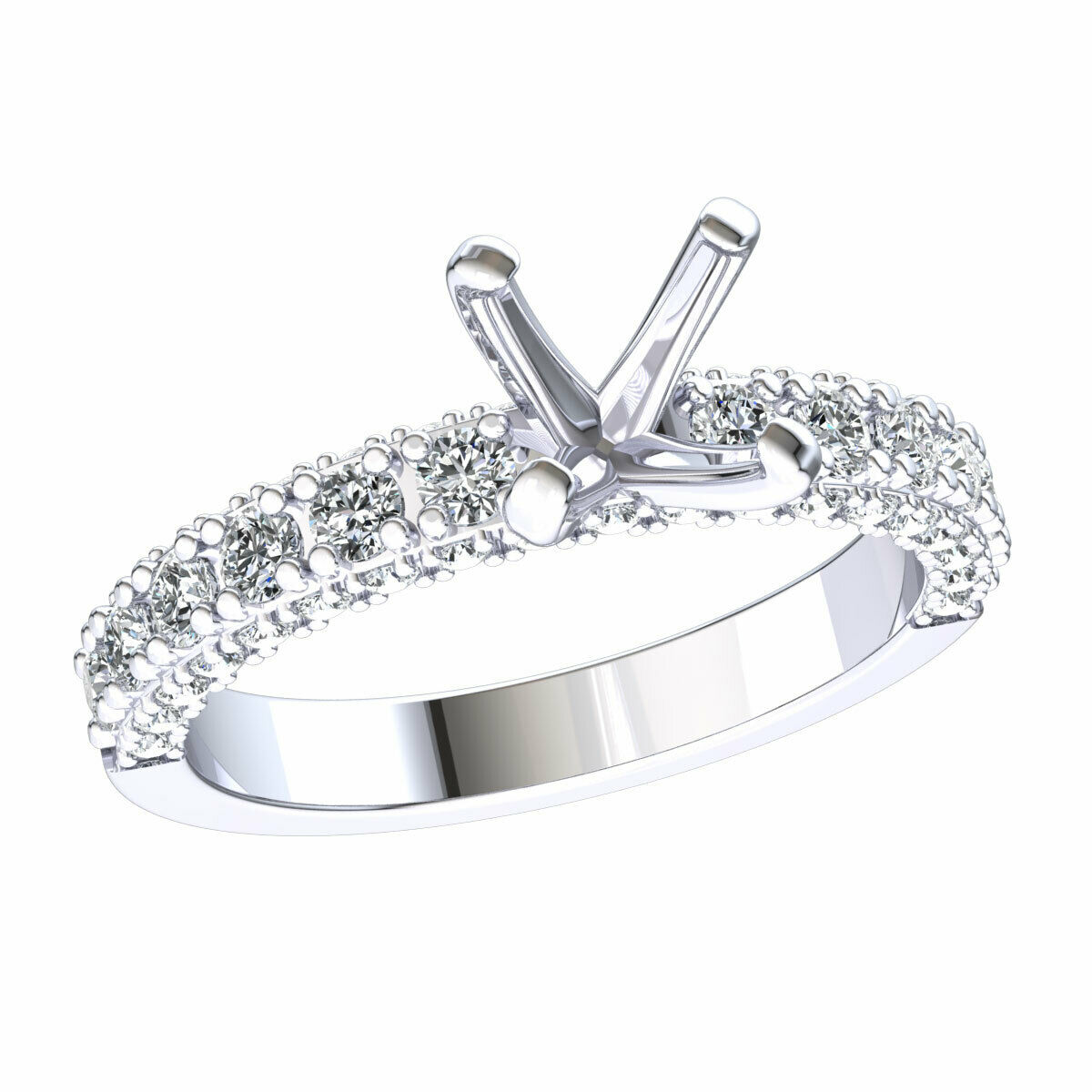 Semi-Mount Bridal Round Diamond Engagement Ring Solid 14k gold 0.70ctw