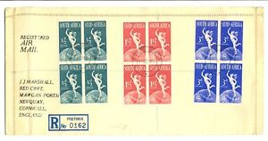SOUTH-AFRICA-1949-UPU-BLOCKS-OF-4-ON-REG-FDC-FINE-LEFT-CREASE-STAMPS-OK