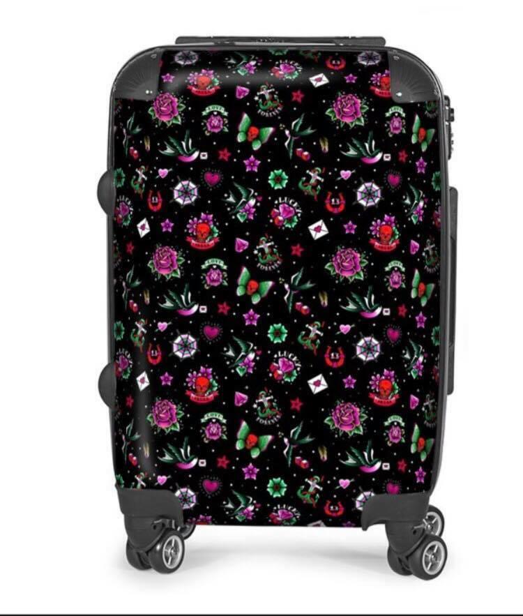 Rétro Tatouage noir Designer valise, voyage, sac de cabine, Bagages, vacances