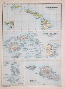 1894 Karte Hawaii Inseln Fiji Tahiti Viti Levu Suva Honolulu Kauai Hawaii