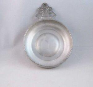Vintage Woodbury Pewters Handled Pewter Dish Bowl