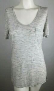 ANN-TAYLOR-LOFT-Women-039-s-Top-Sz-Medium-Gray-Heather-Short-Sleeve-Scoop-Neck-M