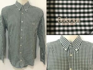 Barbour-Check-Shirt-Size-M-Medium-Green-amp-White-100-Cotton-Tailored-Fit