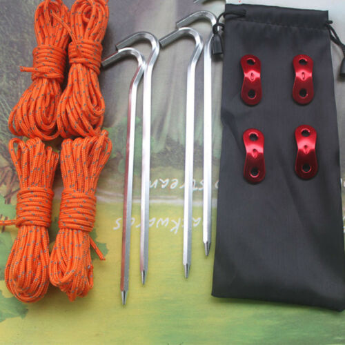 Camping Tent Canopy Awning Tarp Rope Stakes Pegs Buckles Clips Kit Set w//