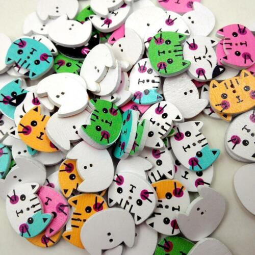 100 Printed Cat Animal Shape Wooden Sewing Buttons DIY Craft Embellishments