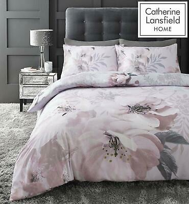 Dramatic Floral Catherine Lansfield Blush Pink Duvet Covers Quilt Bedding Set