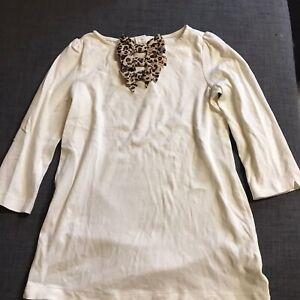 Janie-And-Jack-Autumn-Safari-Leopard-Bow-Ivory-Cotton-3-4-Sleeve-Tunic-Size-10