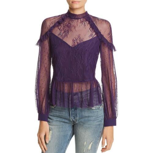 Bardot Women/'s Ruffled Lace Blouson Sleeve Mock Neck Sheer Peplum Blouse