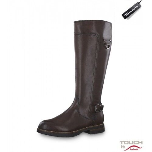 Tamaris 25603 Mocca  Leather Riding Boots With  TOUCH-IT  Insole And Buckle Trim