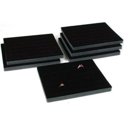 """Six 36 Ring Black Foam Jewelry Display Tray Inserts 7 3//4/"""" x 6 3//4/"""""""
