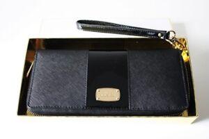 32130d81b5f31 Das Bild wird geladen MICHAEL-KORS-Geldboerse-Portemonnaie -MET-CENTER-STRIPE-black-