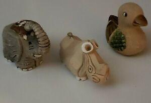 Artesania Rinconada lot of 3 Pottery Animal Figurines Uruguay