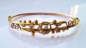 Stunning-Antique-Edwardian-9ct-Gold-Pearl-Crescent-amp-Floral-Motif-Bangle-c1908