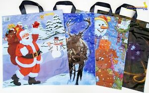 """100x Assorted Christmas Santa Claus Carrier STRONG PLASTIC Bags 16"""" x 17"""""""
