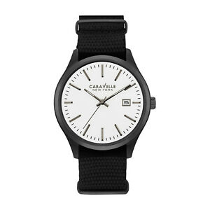Caravelle-New-York-Men-039-s-45B142-Quartz-White-Analog-Dial-Black-Nylon-41mm-Watch