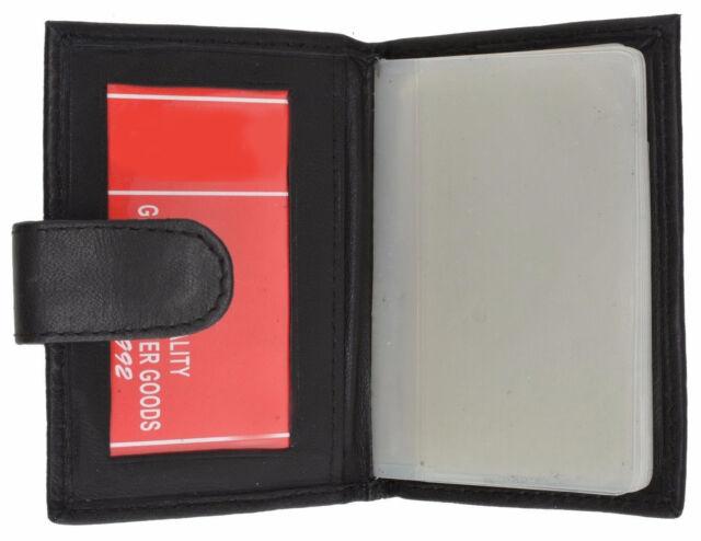 Black Genuine Leather Mens Bifold Wallet Plastic Insert Business Card Insert