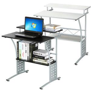 computer desk w printer shelf stand pc laptop home office. Black Bedroom Furniture Sets. Home Design Ideas